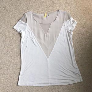 AIKO shirt sleeve sheer shoulder panel top
